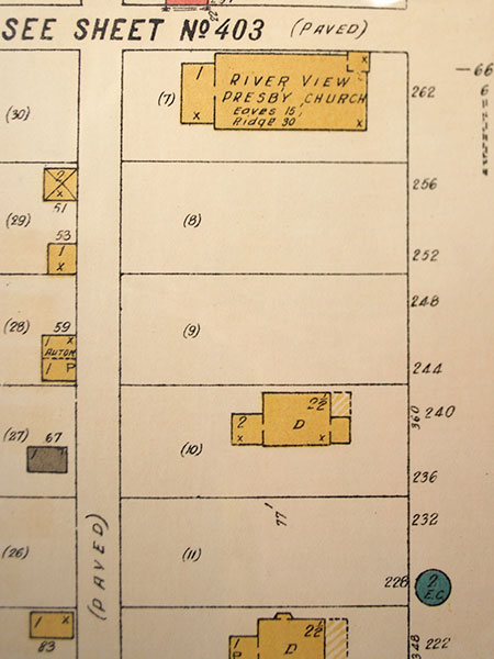 Fire insurance map of the Riverview Presbyterian Church area