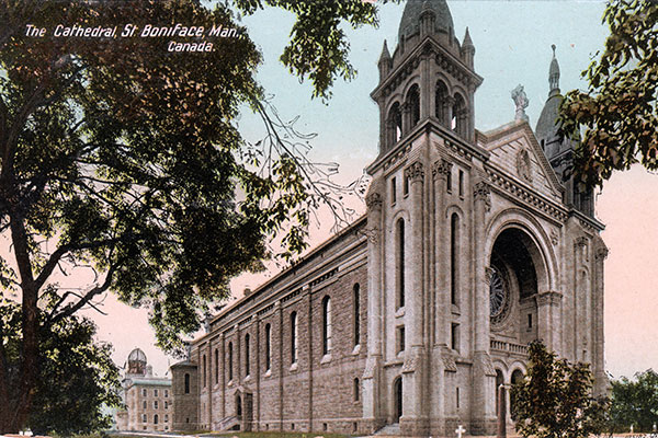 Postcard view of St. Boniface Cathedral