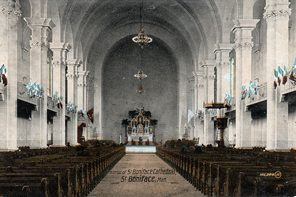 Postcard view of interior of St. Boniface Cathedral