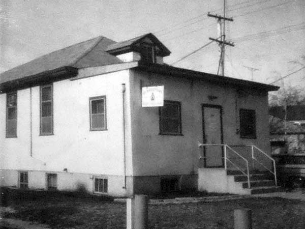 The original Strathmillan School building, used from 1915 to 1933, later a branch of the Royal Canadian Legion at 200 Thompson Drive