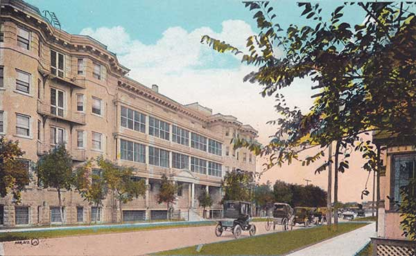 Postcard view of the nurses' residence at the Winnipeg General Hospital
